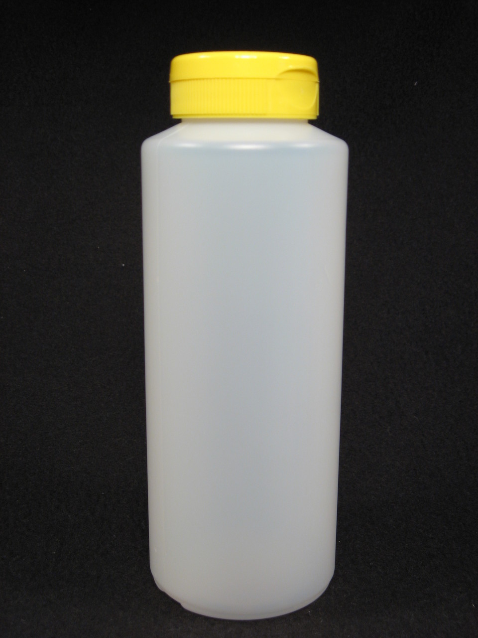 16 oz. Cylinder honey bottles - case of 300 with yellow flip top lids