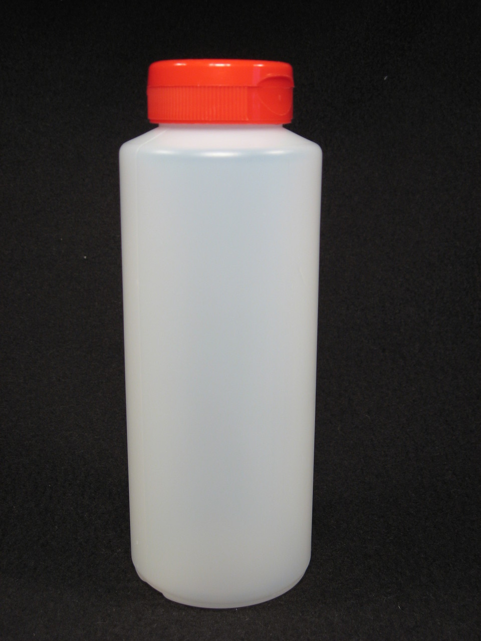 16 oz. Cylinder honey bottles - case of 300 with red flip top lids