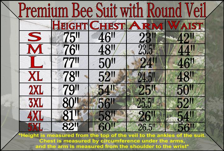 Premium bee suit size chart