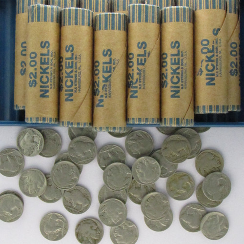 Assorted Buffalo Nickel Rolls, $2.00 Face Value