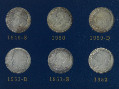 Roosevelt Dime Collection 1946-1964 Full Collection(P-D-S), all 90% Silver
