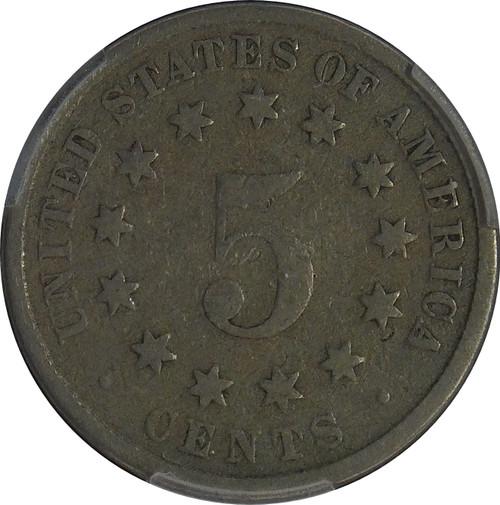 1882 Shield 5C, PCGS G04