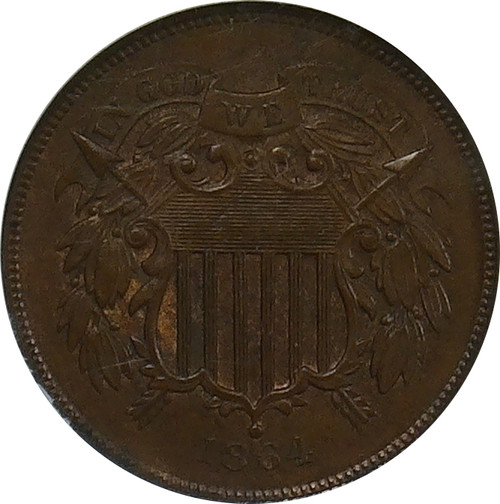 1864  2C, Large Motto, Brown, NGC MS-64 BN