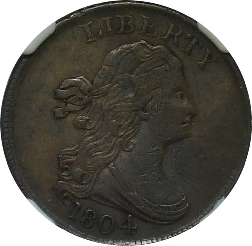 1804 Draped Bust 1/2C, Spiked Chin, NGC VF Details, Obverse Damage