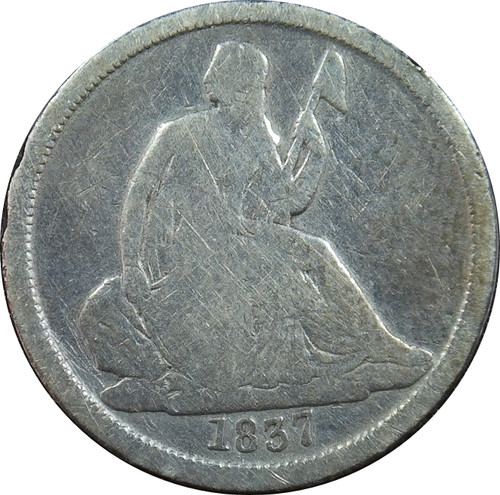 1837 Seated Liberty Dime, No Stars, Small Date