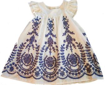 White w/ Navy Embr Dress