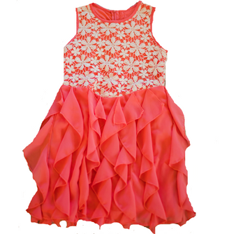 Coral Cascading Ruffle