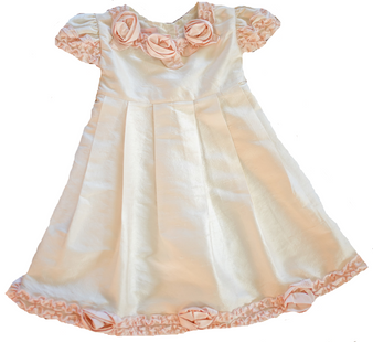 Duponi Ivory Silk Dress w/ peach flowers