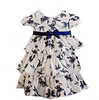 Navy White Cotton with Navy bow