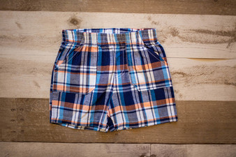 Navy Plaid Shorts