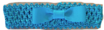 Aqua Crochet Band w/ grograin bow