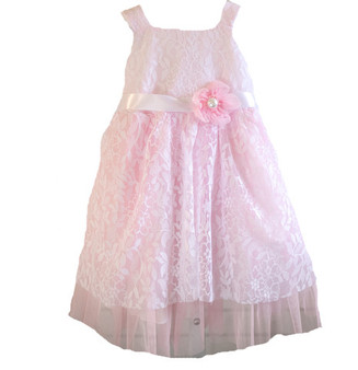 Pink Tulle w/ White Lace Dress