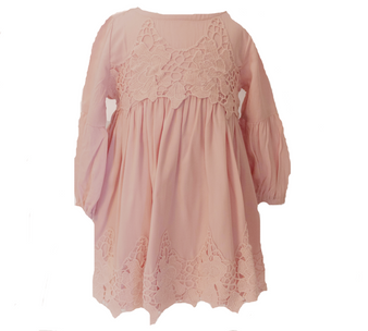 Lt Peach cotton with lace l/sleeve