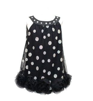 Blk tulle w/ silver dots