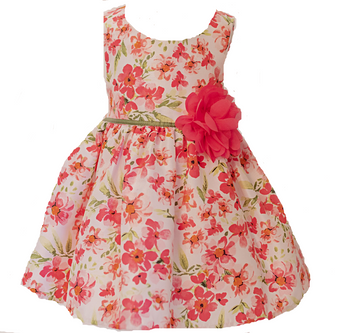 Coral floral w/ large flower 18M