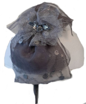 Grey Lace Bow Hard Headband