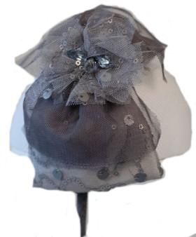 Grey Lace Bow Hard Headband