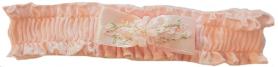 Soft pink knit headband with pink satin  bow with flowers on top