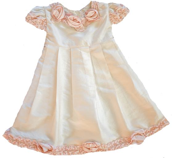 Duponi Ivory Silk Dress w/ peach flowers