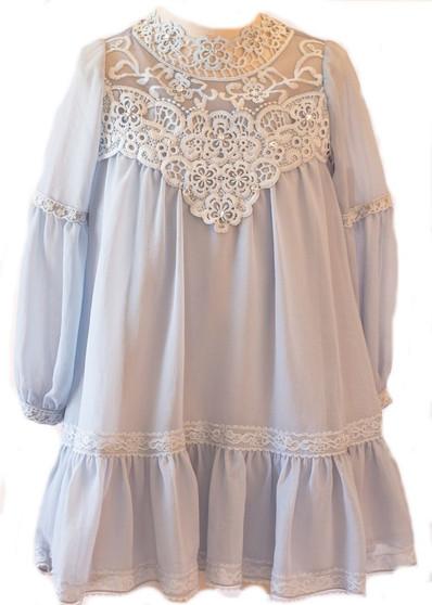 Lt Blue w/ Lace Dress long sleeves