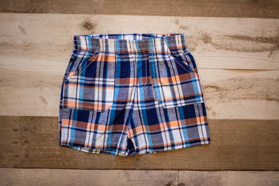 Navy Plaid Shorts