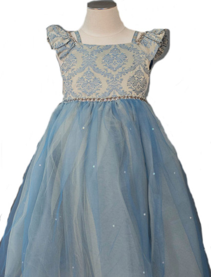 Teal and Taupe Brocade Bodice and tulle skirt