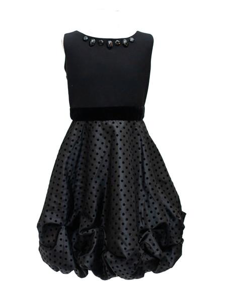 Blk knit bodice w/ dotted taffetta skirt