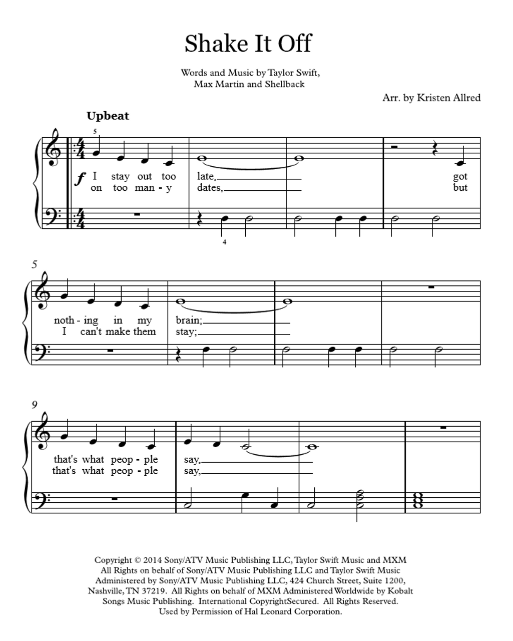 Easy Piano Sheet Music With: Easy Piano Cover Sheet Music