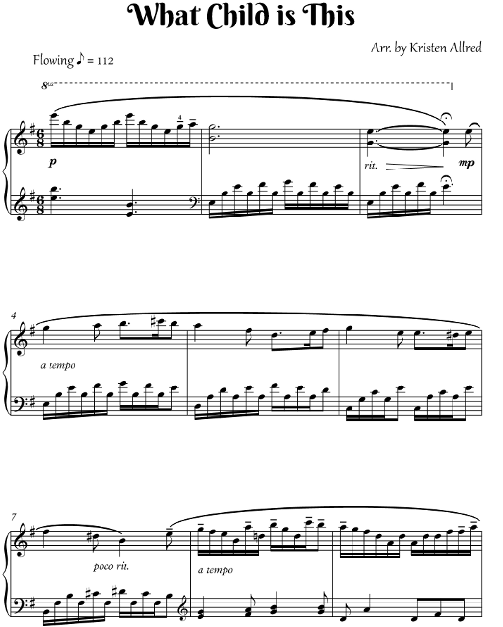 What Child is This ( Intermediate Piano Solo Sheet Music)