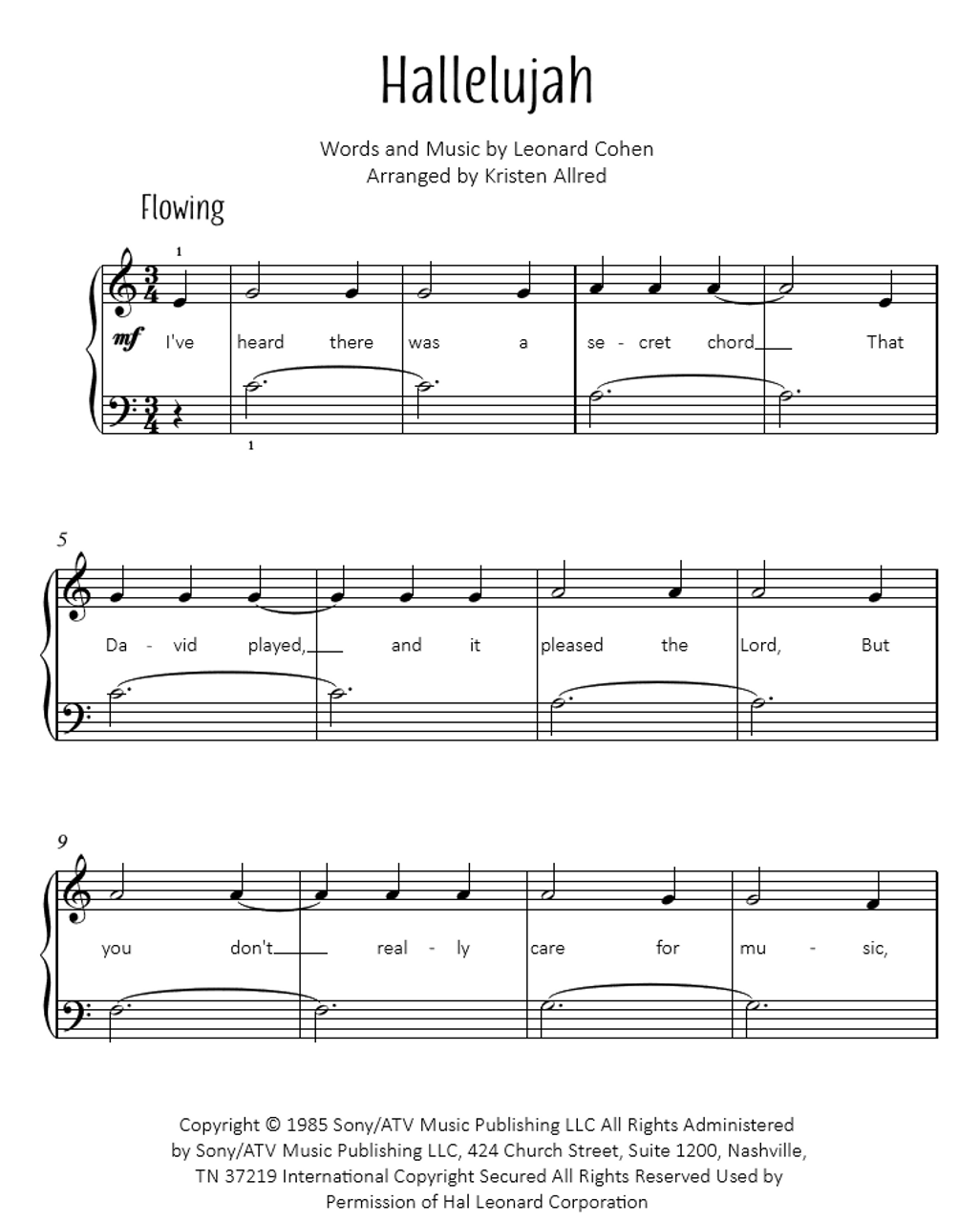 Christmas Hallelujah Sheet Music.Hallelujah From Shrek Easy Piano Cover Sheet Music