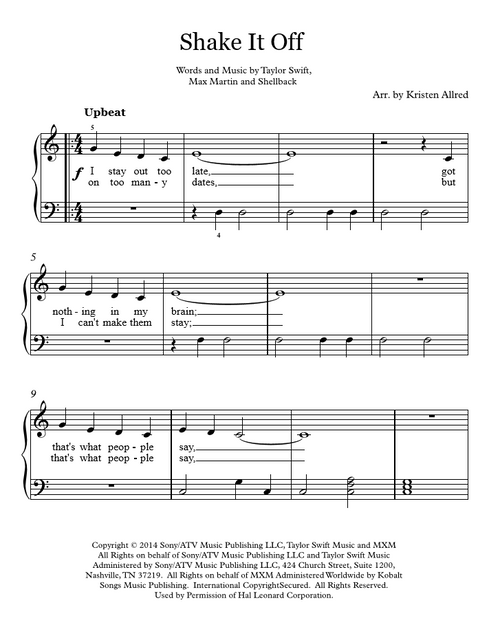 Shake It Off - Easy Piano Cover Sheet Music