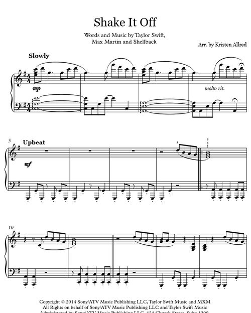 Shake It Off (Intermediate Piano Solo)