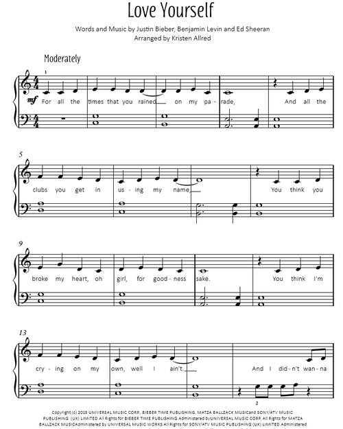 Love Yourself - Justin Bieber (Easy Piano Cover)