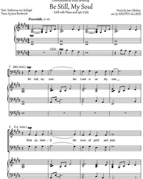 Be Still, My Soul (SAB Choir w/ opt. cello)