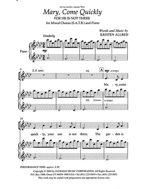 Mary Come Quickly (For He Is Not There) (SATB Choir) Easter