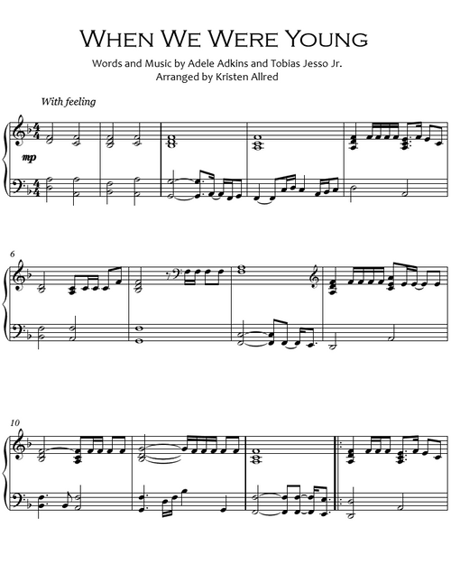 When We Were Young (Piano Cover Sheet Music)