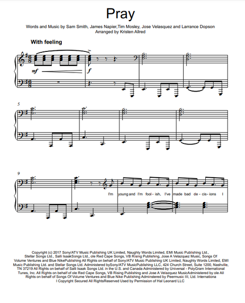 Pray - Sam Smith (Intermediate Piano Cover Sheet Music)
