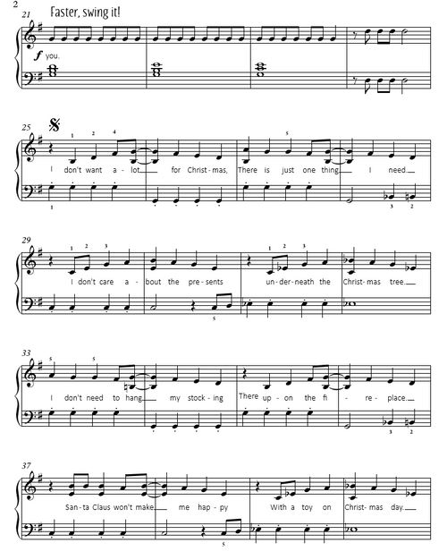 All I Want For Christmas Is You - Mariah Carey  (Easy Piano Cover Sheet Music)