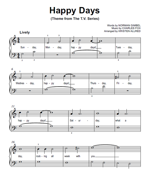 Happy Days - Theme Song From The TV Show (Easy Piano Cover Sheet Music)