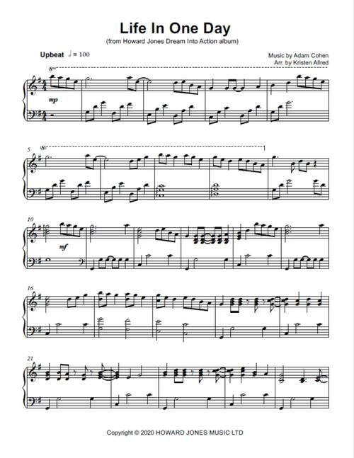 Life In One Day - Howard Jones  (Piano Sheet Music Solo PDF)