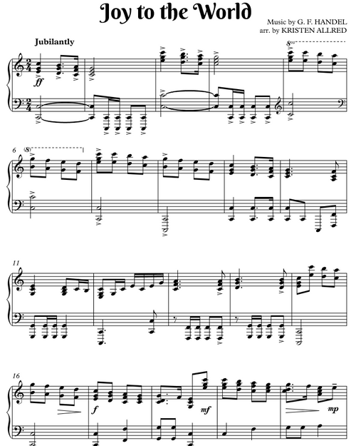 Joy to the World (Intermediate Piano Solo Sheet Music)