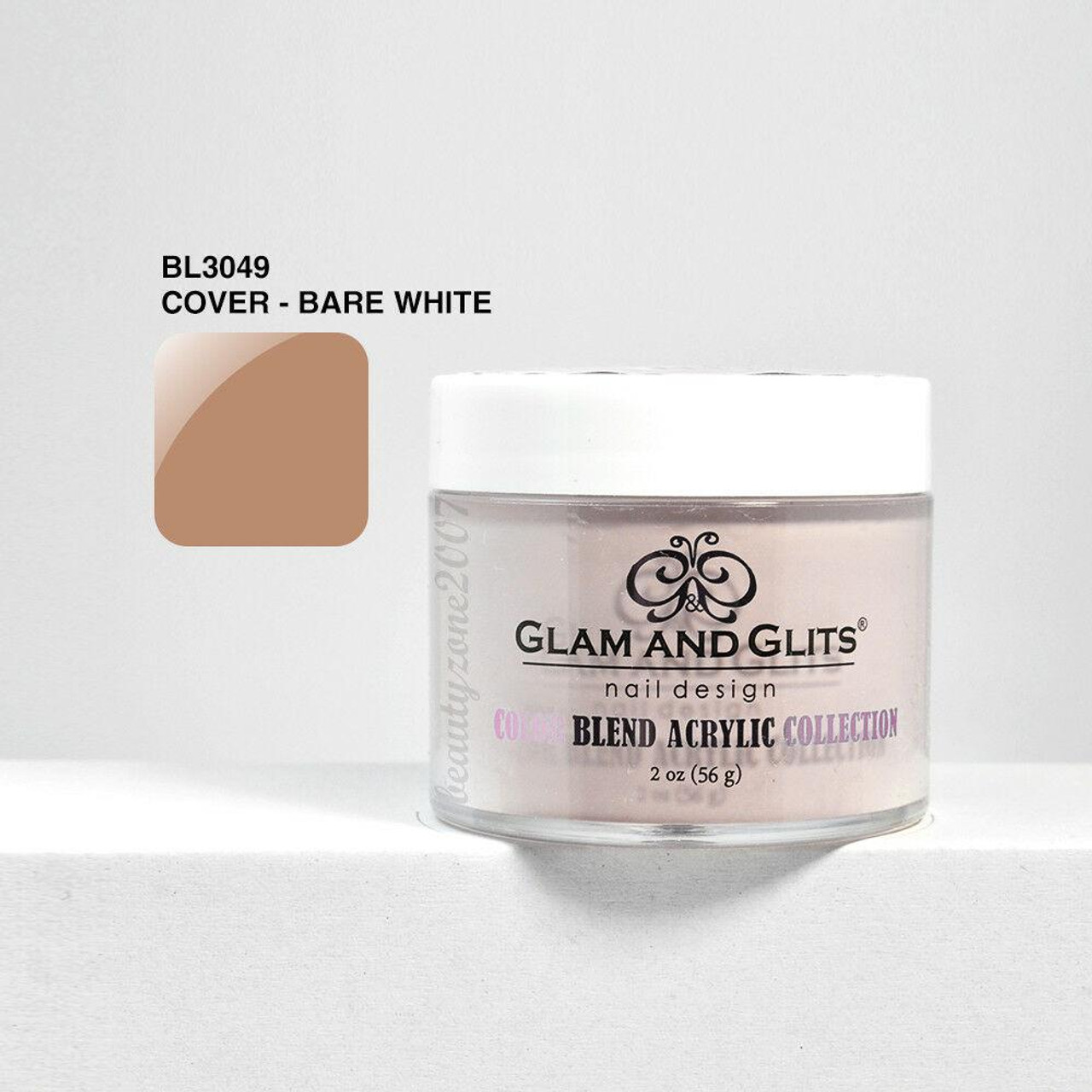 Glam and Glits Color Blend Nail Powder BL3049 - Bare White 2oz