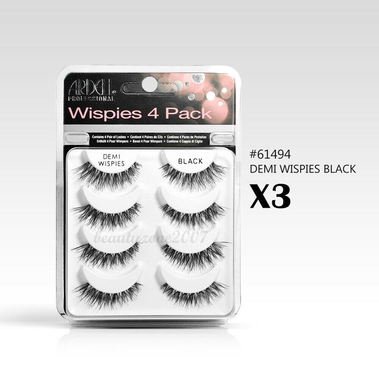 df001521f64 (3 pack) Ardell False Eyelashes MultiPack Demi Wispies Black (12 Pairs) #