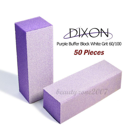 50 Blocks Dixon Purple Buffer Block White Grit 100/180 For Acrylic UV Gel Nail