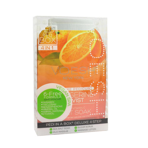 2 x VOESH Pedicure Set 4-in-1 Tangerine Twist Salt Scrub Masque Massage Lotion