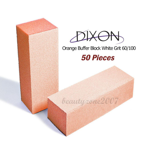 50 Blocks Dixon Orange Buffer Block White Grit 100/180 For Acrylic UV Gel Nail