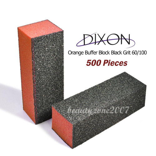 500/case Dixon Orange Buffer Block Black Grit 100/180 For Acrylic UV Gel Nail