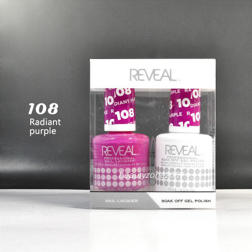 Reveal Gel Polish & Nail Lacquer Matching Duo #108 - Radiant Purple
