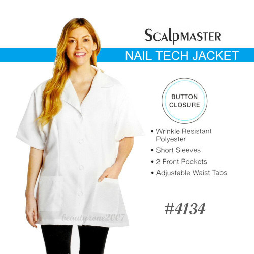 Scalpmaster #4134 Salon Nail Tech Jacket - White - one size