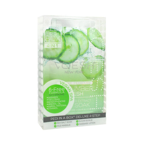 2 x VOESH Pedicure Spa Set 4-in-1 Cucumber Salt Scrub Masque Massage Lotion